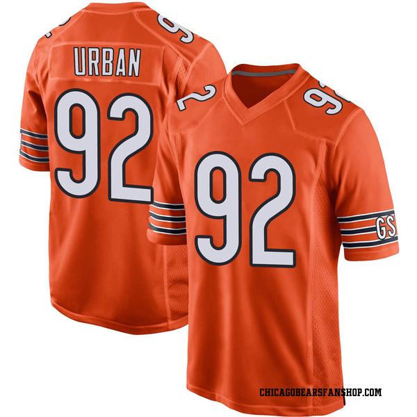 Brent Urban Chicago Bears Game Orange 100th Season Jersey