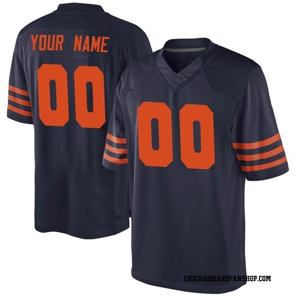 Custom Chicago Bears Game Navy Blue Alternate Jersey