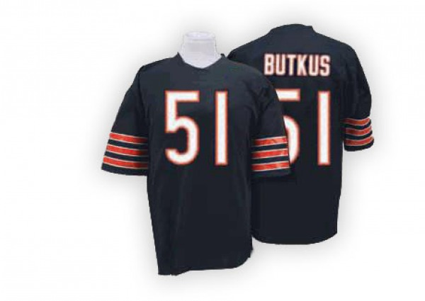 Dick Butkus Chicago Bears Authentic Blue Mitchell And Ness Team Color Big Number With Bear Patch Throwback Jersey