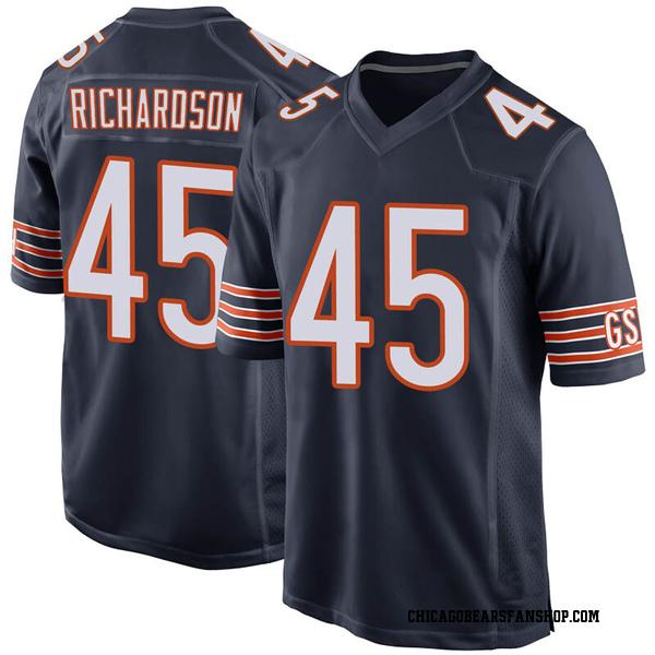 Ellis Richardson Chicago Bears Game Navy Team Color Jersey