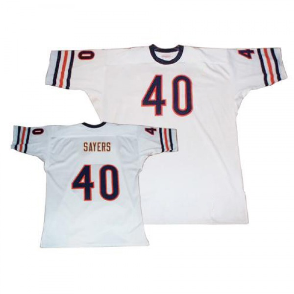 Gale Sayers Chicago Bears Authentic White Mitchell And Ness Big Number With Bear Patch Throwback Jersey