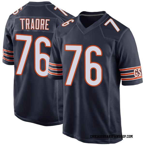 Men's Badara Traore Chicago Bears Game Navy Team Color Jersey