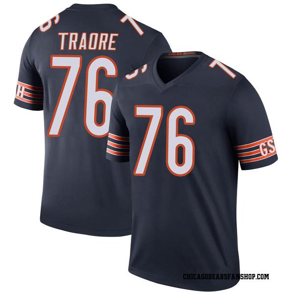 Men's Badara Traore Chicago Bears Legend Navy Color Rush Jersey