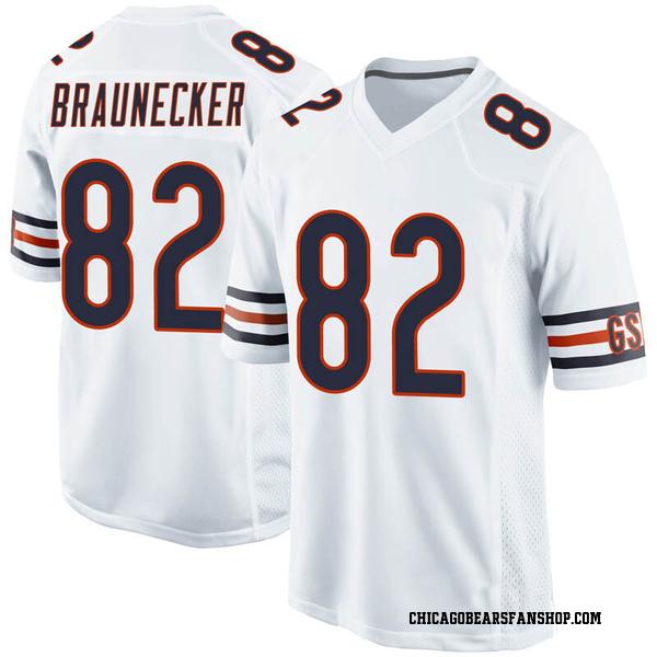Men's Ben Braunecker Chicago Bears Game White Jersey
