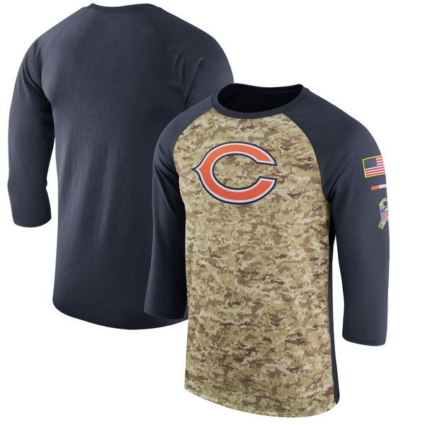 Men's Chicago Bears Legend Camo /Navy Salute to Service 2017 Sideline Performance Three-Quarter Sleeve T-Shirt