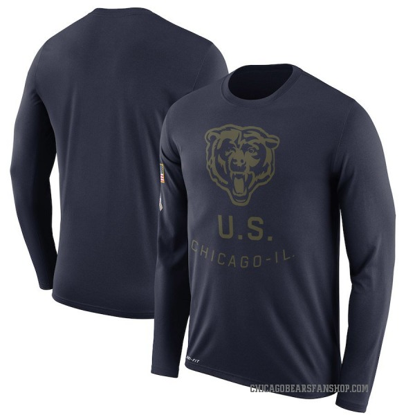 Men's Chicago Bears Legend Navy 2018 Salute to Service Sideline Performance Long Sleeve T-Shirt