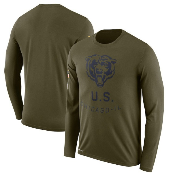 Men's Chicago Bears Legend Olive 2018 Salute to Service Sideline Performance Long Sleeve T-Shirt