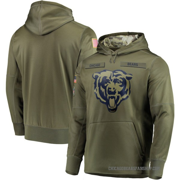 Men's Chicago Bears Olive 2018 Salute to Service Sideline Therma Performance Pullover Hoodie
