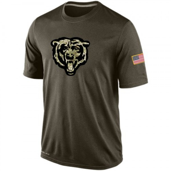Men's Chicago Bears Olive Salute To Service KO Performance Dri-FIT T-Shirt