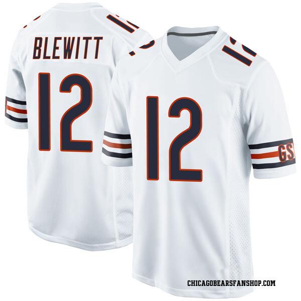 Men's Chris Blewitt Chicago Bears Game White Jersey