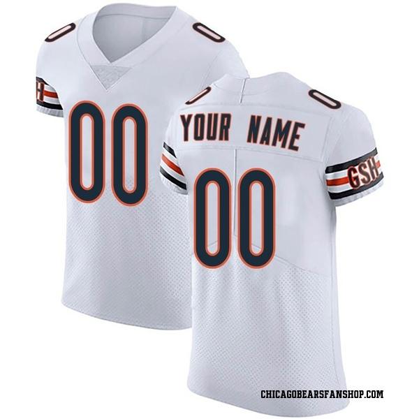 Men's Custom Chicago Bears Elite White Vapor Untouchable Jersey