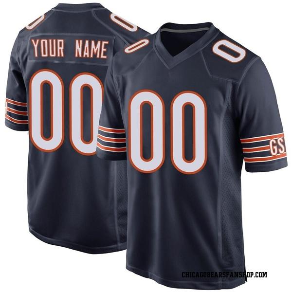 Men's Custom Chicago Bears Game Navy Team Color Jersey