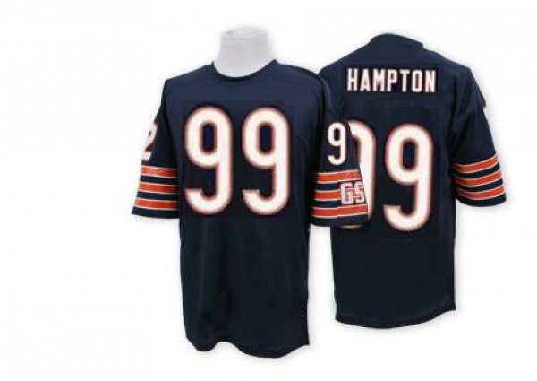 Men's Dan Hampton Chicago Bears Authentic Blue Mitchell And Ness Team Color Big Number With Bear Patch Throwback Jersey