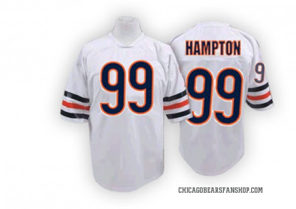 Men's Dan Hampton Chicago Bears Authentic White Mitchell And Ness Big Number With Bear Patch Throwback Jersey