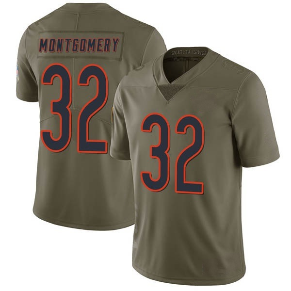 Men's David Montgomery Chicago Bears Limited Green 2017 Salute to Service Jersey
