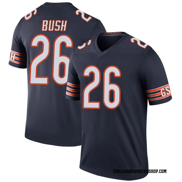 Men's Deon Bush Chicago Bears Legend Navy Color Rush Jersey