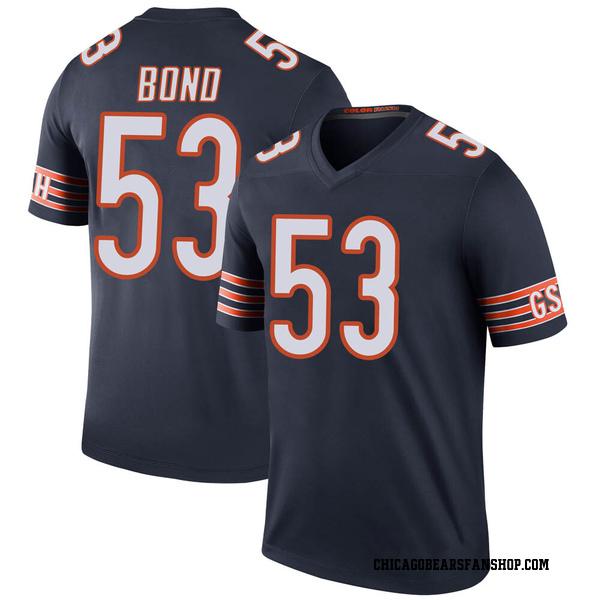 Men's Devante Bond Chicago Bears Legend Navy Color Rush Jersey