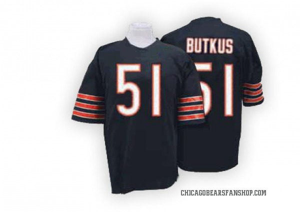 Men's Dick Butkus Chicago Bears Authentic Blue Mitchell And Ness Team Color Big Number With Bear Patch Throwback Jersey