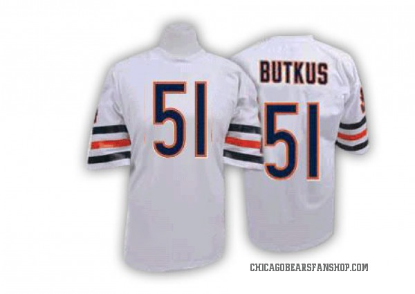 Men's Dick Butkus Chicago Bears Authentic White Mitchell And Ness Throwback Jersey
