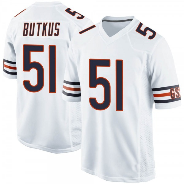 Men's Dick Butkus Chicago Bears Game White Jersey