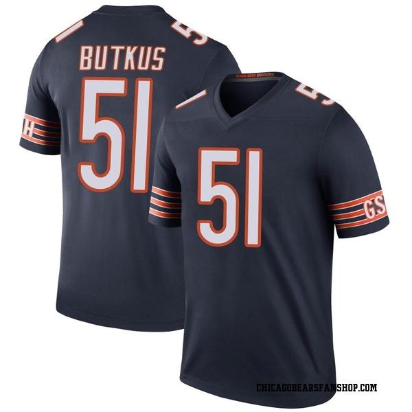 Men's Dick Butkus Chicago Bears Legend Navy Color Rush Jersey