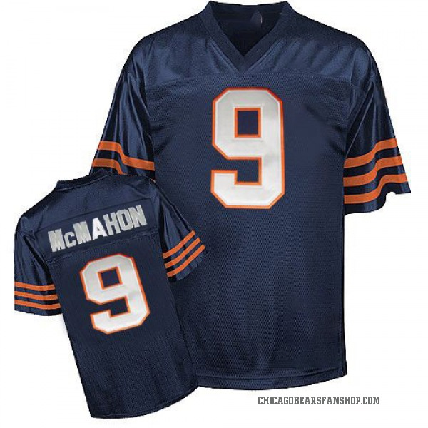 Men's Jim McMahon Chicago Bears Authentic Blue Mitchell And Ness Team Color Big Number Throwback Jersey