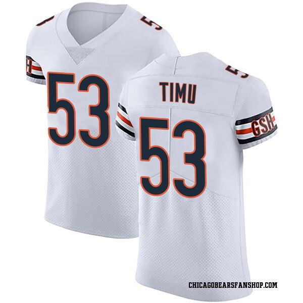 Men's John Timu Chicago Bears Elite White Vapor Untouchable Jersey