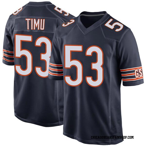 Men's John Timu Chicago Bears Game Navy Team Color Jersey