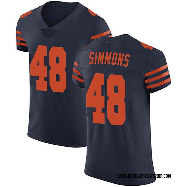 Men's Joshua Simmons Chicago Bears Elite Navy Blue Alternate Vapor Untouchable Jersey