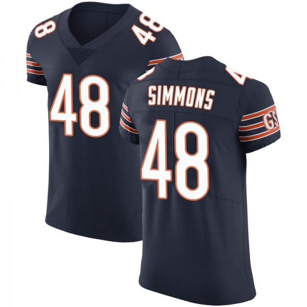 Men's Joshua Simmons Chicago Bears Elite Navy Team Color Vapor Untouchable Jersey