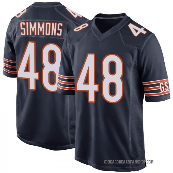 Men's Joshua Simmons Chicago Bears Game Navy Team Color Jersey