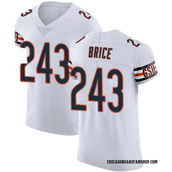 Men's Kentrell Brice Chicago Bears Elite White 3 Vapor Untouchable Jersey