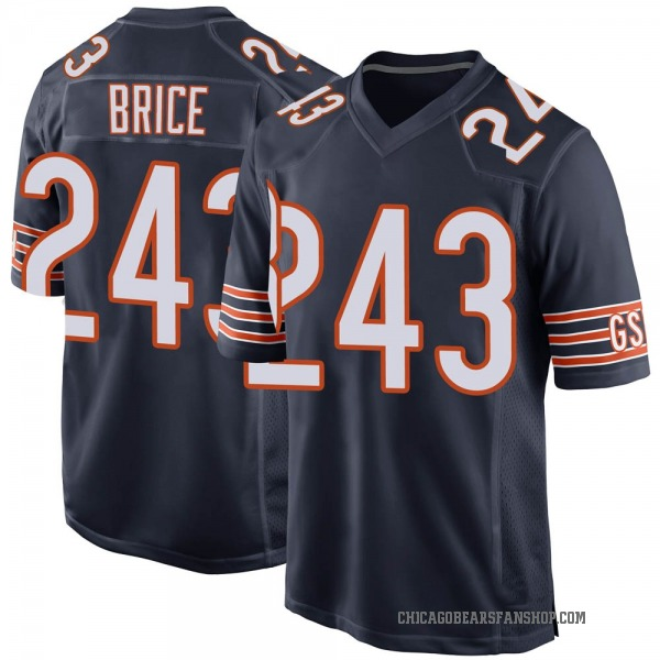 Men's Kentrell Brice Chicago Bears Game Navy 3 Team Color Jersey