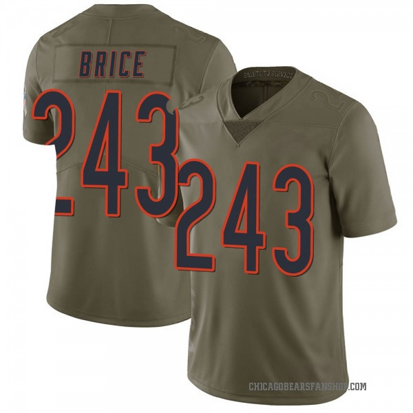 Men's Kentrell Brice Chicago Bears Limited Green 3 2017 Salute to Service Jersey