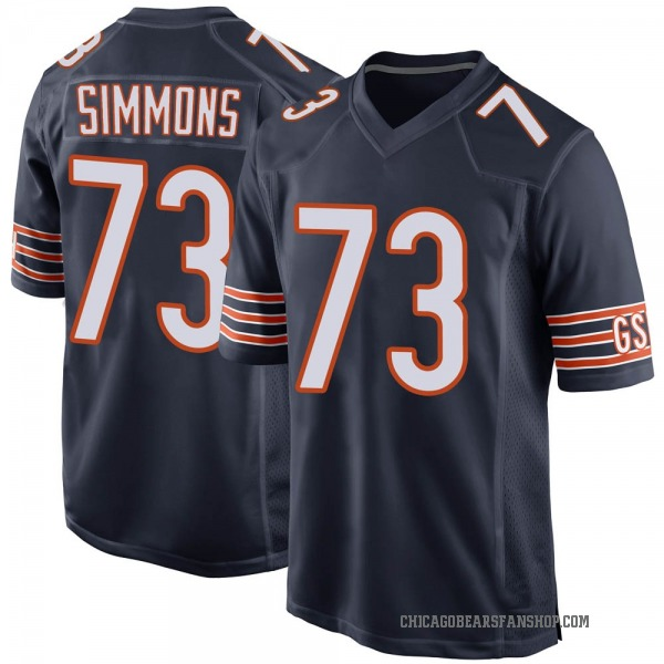 Men's Lachavious Simmons Chicago Bears Game Navy Team Color Jersey