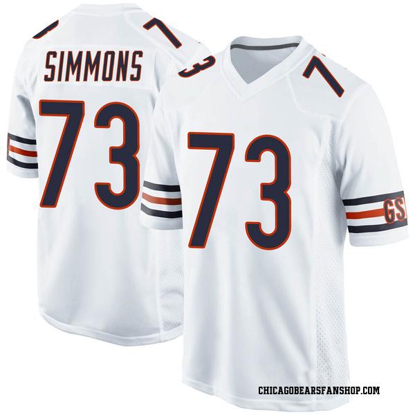 Men's Lachavious Simmons Chicago Bears Game White Jersey