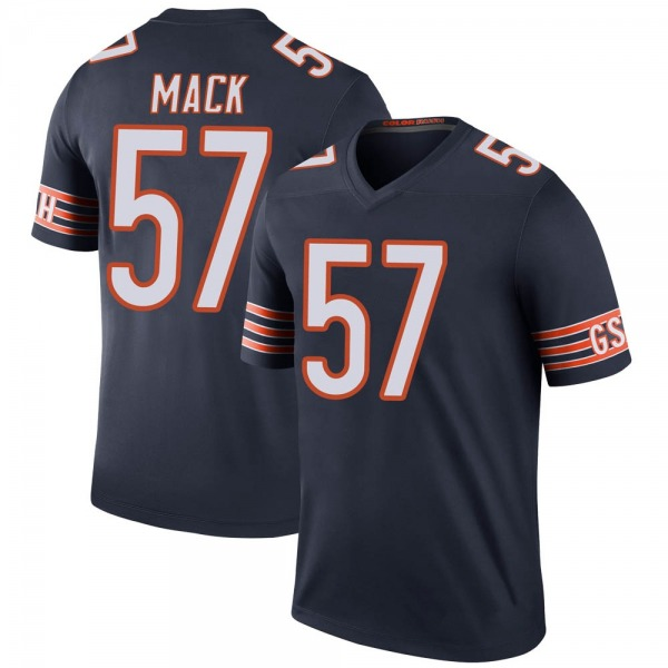 Men's Ledarius Mack Chicago Bears Legend Navy Color Rush Jersey