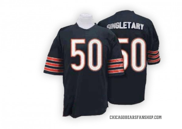 Men's Mike Singletary Chicago Bears Authentic Blue Mitchell And Ness Team Color With Big Number Throwback Jersey