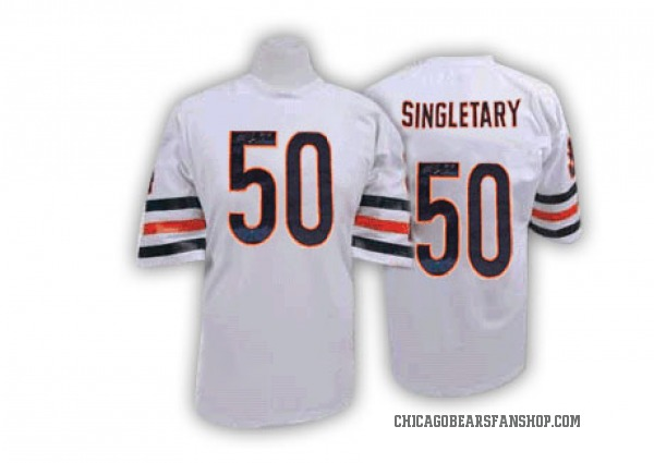 Men's Mike Singletary Chicago Bears Authentic White Mitchell And Ness Big Number With Bear Patch Throwback Jersey