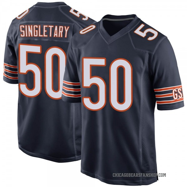 Men's Mike Singletary Chicago Bears Game Navy Team Color Jersey