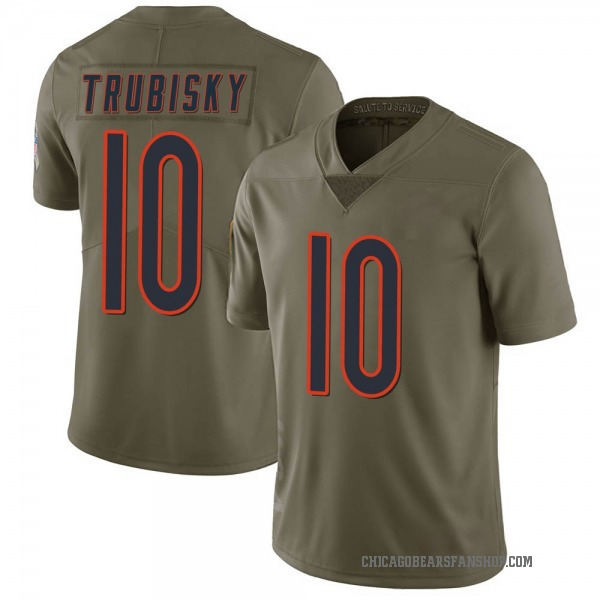 Men's Mitchell Trubisky Chicago Bears Limited Green 2017 Salute to Service Jersey