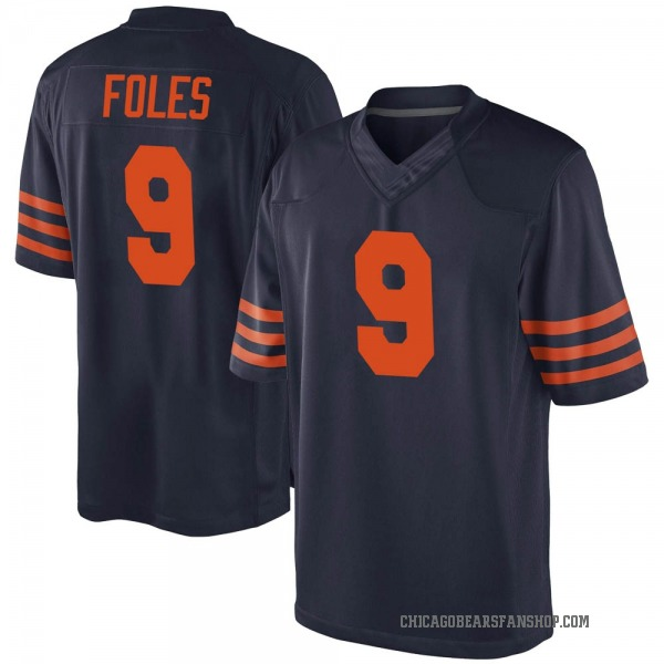 Men's Nick Foles Chicago Bears Game Navy Blue Alternate Jersey