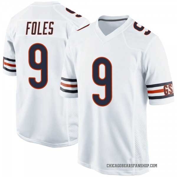 Men's Nick Foles Chicago Bears Game White Jersey