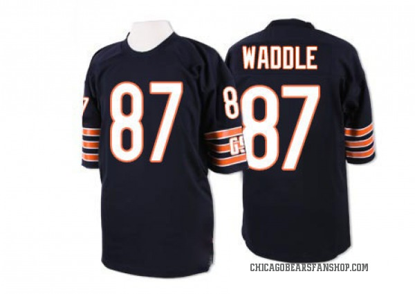 Men's Tom Waddle Chicago Bears Authentic Blue Mitchell And Ness Team Color Throwback Jersey