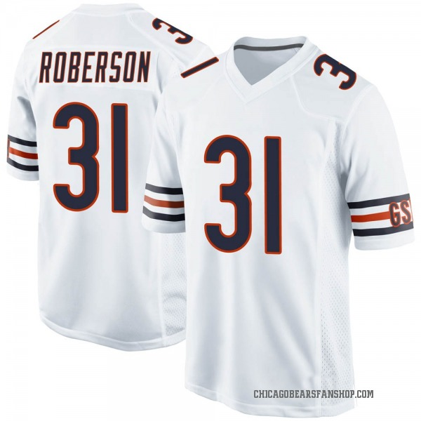 Men's Tre Roberson Chicago Bears Game White Jersey