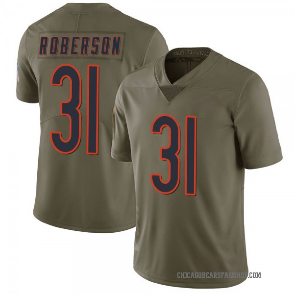Men's Tre Roberson Chicago Bears Limited Green 2017 Salute to Service Jersey