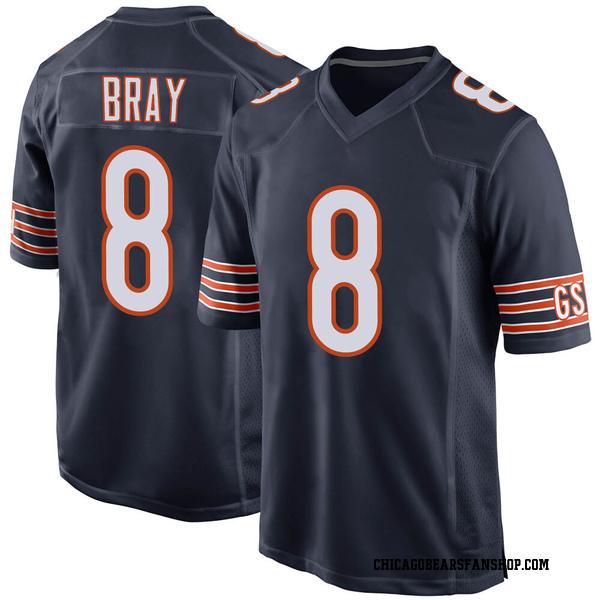 Men's Tyler Bray Chicago Bears Game Navy Team Color Jersey