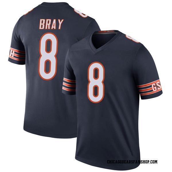 Men's Tyler Bray Chicago Bears Legend Navy Color Rush Jersey
