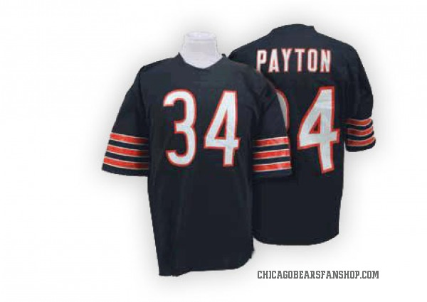 Men's Walter Payton Chicago Bears Authentic Blue Mitchell And Ness Team Color Big Number With Bear Patch Throwback Jersey