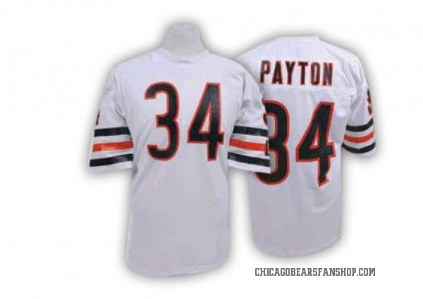 Men's Walter Payton Chicago Bears Authentic White Mitchell And Ness Big Number With Bear Patch Throwback Jersey